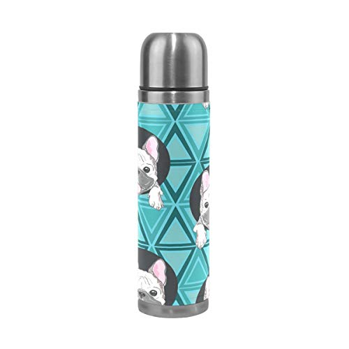 senya French Bulldog Thermoses Insulated Water Bottle Stainless Steel Double Walled Leak-Proof Vacuum Travel Coffee Mug Genuine Leather Cover 17 Oz