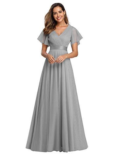 Ever-Pretty Damen Abendkleid A-Linie Tüll Brautjungfer Partykleid Kurze Ärmel lang Grau 46