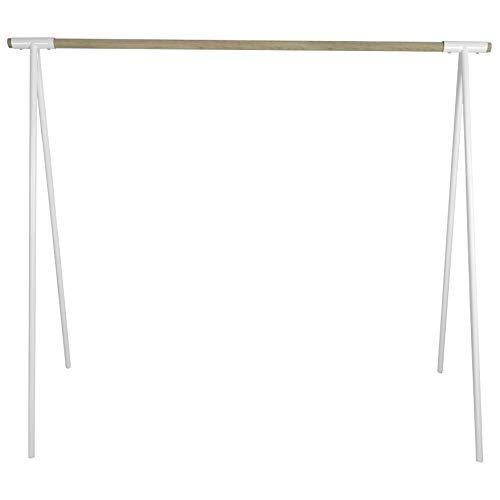 Natural Goods Berlin Kleiderständer Gard Design Garderobe freistehend | Metall Kleiderstangenhalterung für 30mm Rundstab | Massiv Holz stabil | DIY (130cm Kleiderstange Eiche, Weiß)