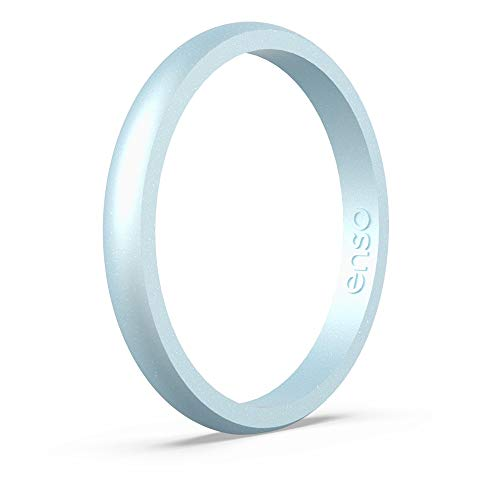 Enso Rings Halo Birthstone Silicone Ring | Made in The USA | Lifetime Quality Guarantee | Comfortable, Breathable, and Safe (Diamond, 7)