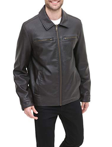 Dockers Men's Faux Leather Jacket (Standard and Big & Tall), Dark Brown w. Chest Zip, Medium