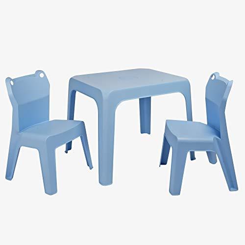 RESOL Set Jan Frog Mesa Infantil con Sillas | 2 Sillas Niños y Mesa de Plástico | Apilables y de Muy Fácil Limpieza y Mantenimiento | Azul Cielo Mesa + 2 Sillas