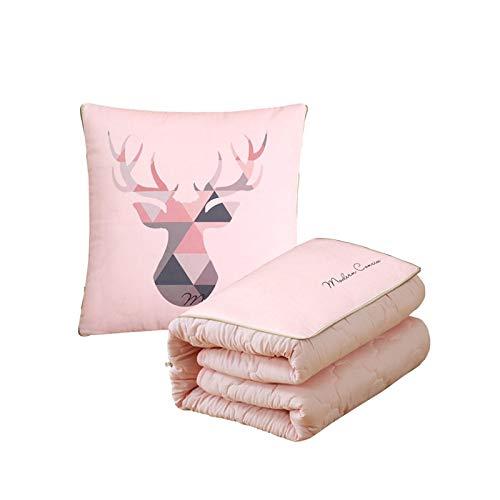 TITST 1 Paquete de Manta de Almohada de cojín Multifuncional 2 en 1 sofá Plegable de Doble propósito cálido cojín Lindo decoración para el hogar Oficina del Coche 150 x110 cm Rosa B