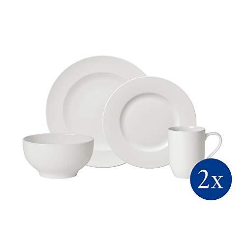 Villeroy & Boch For Me Tafelservice für 2 Personen, 8-teilig, Premium Porzellan, Weiß