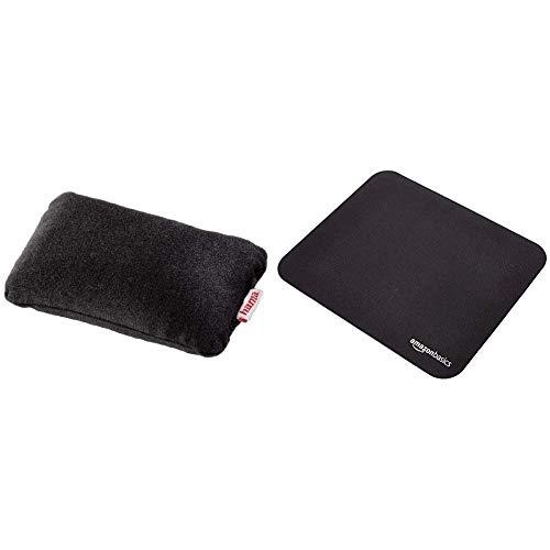 Hama Handballenauflage (Massageeffekt, für PC Anwendungen mit Maus oder Tablet Stift, ergonomisch, verwendbar mit Mauspad, Füllung mit Kunststoffperlen) schwarz & AmazonBasics - Mini-Gaming-Mauspad
