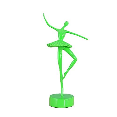 LGYKUMEG Esculturas De Adornos Art Deco, Elegante Figura De Bailarina, Mejor Regalo para Niña, Decoración del Hogar, Adorno De Escritorio,Verde