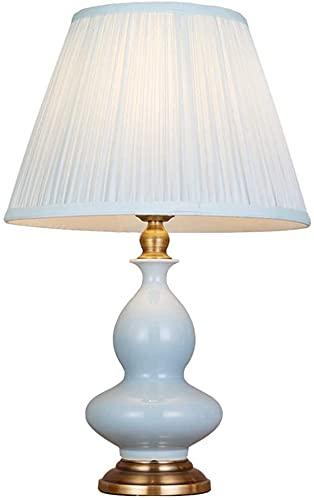 JAKWBR Lámpara de Mesa de cerámica Oriental Azul Lámpara de Tela E27 Interruptor de botón Interruptor de Sala de Estar Dormitorio Decorado Decorado lámpara de Escritorio