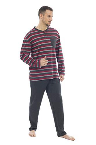 MUSLHER Pijama para Hombre listado Rojo (XL, X
