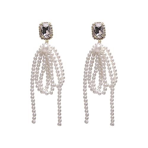 DHDHWL Pendientes de perlas largas de borla pendientes femeninos de plata S925 con aguja dulce temperamento, pendientes redondos para la cara