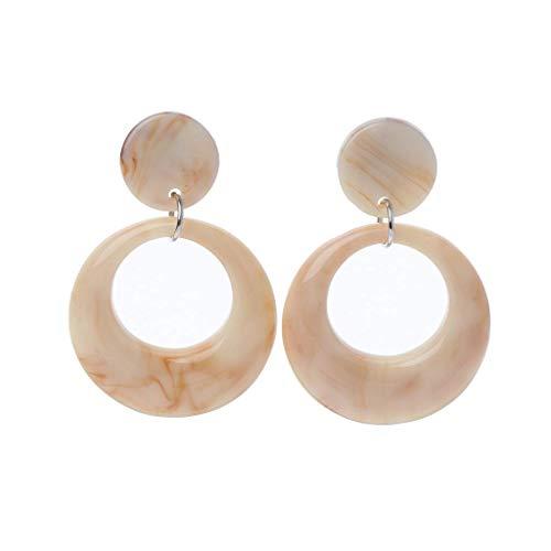 Schmuck, schönes Ohrpiercing, Ohrstecker, Earrings, Acrylic Acetate Leopard Geometric Round Drop Earrings Statement Jewelry Beige