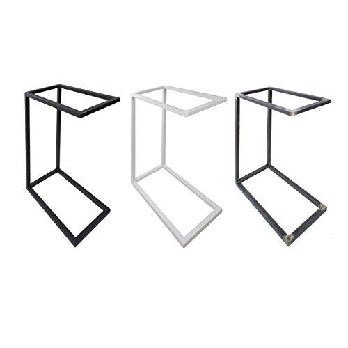 Natural Goods Berlin 1x Beistelltisch C-Form   Laptoptisch aus Metall und Holz   Couchtisch Sofa Kaffeetisch Sessel   praktische Ablage   Nachttisch Unterschieben (ohne Tischplatte, Industrial)