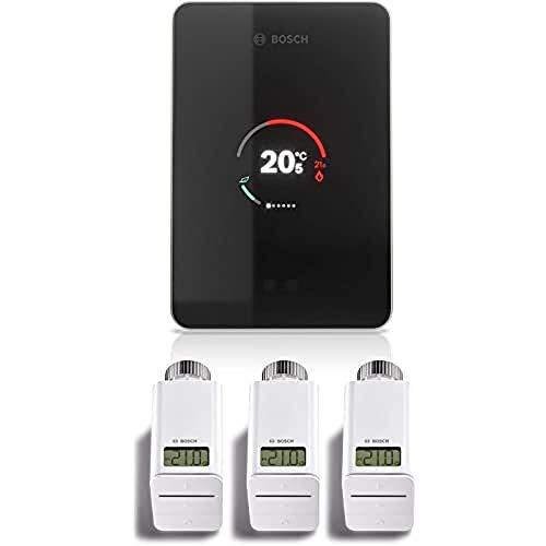 Bosch Junkers CT200 W-LAN EasyControl - Juego de termostatos inalámbricos (3 unidades), color negro