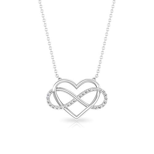Minimal Pave SGL Certified Diamond Infinity Heart Pendant, HI-SI Diamond Eternity Forever Charm...