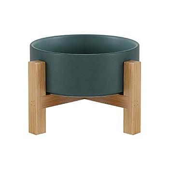 Vert Gamelle Chat Gamelle Chien Gamelle Chat surélevée avec Bambou Support et Pieds Antidérapants - Bol Chat pour la Nourriture et L'eau 400ML - Bol en Ceramique Anti Vomissement et Facile à Nettoyer