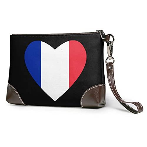 XCNGG Flagge von Frankreich Herz Herren und Damen Leder Clutches Echtes Rindsleder Geldbörsen Aufbewahrungstaschen Smartphone-Taschen