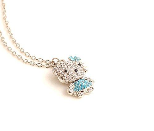 Nina SELLES® Hello Kitty süße Kette Farbe Silber 3D Anhänger Blume Crystal Blau/oder Gold Rose NS500605