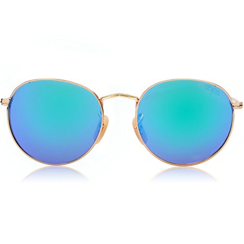 SOJOS Small Round Polarized Sunglasses for Women Men Classic Vintage Retro Frame UV Protection SJ1014 with Gold Frame/Green Mirrored Lens