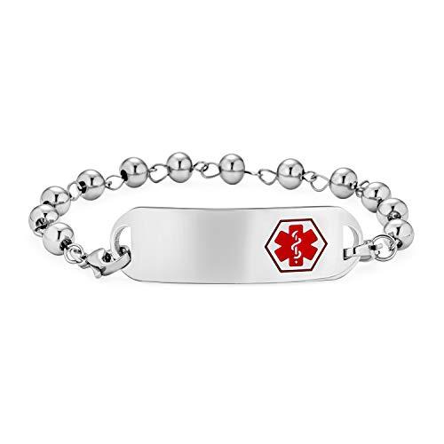 Bling Jewelry Identificación Médico Alerta ID Pulsera grabable Cadena de Bolas de Cuentas para Mujeres Plata Tono Acero Inoxidable 7.5 Pulgadas