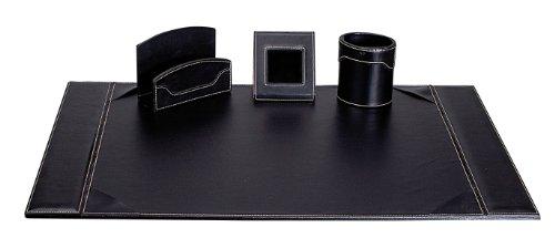 Sign Office Elyane - Set da scrivania in finta pelle con cuciture, in cofanetto regalo, colore: nero
