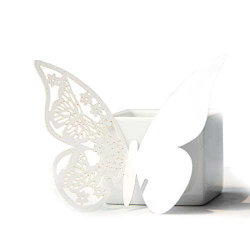DOUKING 100 Pcs Butterfly Table Place Cards Name Number Cards - Wine Glass Cup Decoration for Wedding, Baby Shower, Bridal Shower, Party, Anniversary Dinner, Birthday (White)