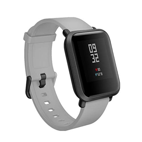 TECKMICO Replacement Bands Compatible with Amazfit Bip,Soft Silicone Sport Bands with Quick Release Pin for Amazfit Bip/Amazfit Bip Lite Huami Smartwatch(Gray, Black Buckle)