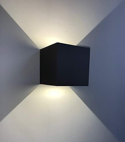 CGC Binnen of buiten Zwart op en neer Vierkant LED Wandlamp Warm Wit 3000k IP65 Lichtnet Tuin Patio Veranda Postverlichting