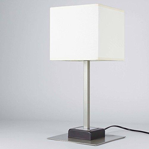 Elegante Tischleuchte in Wenge Beige Bauhausstil 1x E27 bis zu 60 Watt 230V aus gewebten Stoff & Metall Nachttischlampe Schlafzimmer Wohnzimmer Lampen Leuchte Beleuchtung
