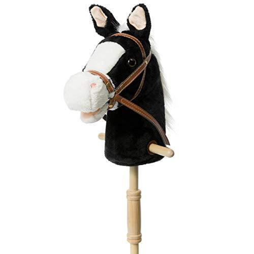 HollyHOME Steckenpferd mit Holzrädern Echtes Pony wiehern und galoppieren Klänge Plüsch Hobby Pferdespielzeug, 91cm, Schwarz