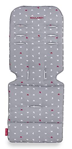 Maclaren colchoneta universal para asiento - Snowfall M Dove, Accesorio de doble cara fácil de poner y quitar en todas las sillas de paseo tipo paraguas, Transpirable y lavable en lavadora