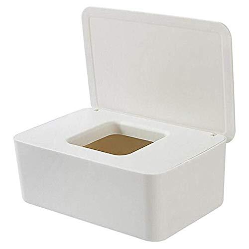 Binghotfire Caja de Almacenamiento de toallitas húmedas a Prueba de Polvo con Tapa Caja de Almacenamiento de Tejidos de Escritorio para el hogar Blanco