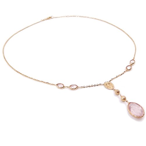 Collana Rosario in oro 18 kt. (750‰) da donna con Medaglia Madonna Miracolosa e quarzo rosa