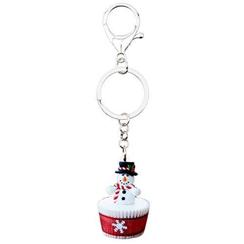 Navidad muñeco de Nieve Cupcake Llavero Anillo Colgante Llavero Navidad para Mujeres...