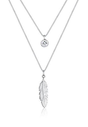 Elli Halskette Damen Feder Boho Swarovski Kristalle in 925 Sterling Silber