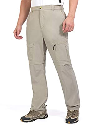 Little Donkey Andy Men's Quick-Dry Lightweight Hiking Pants, Cargo Zip-Off Convertible Pants Khaki Size L