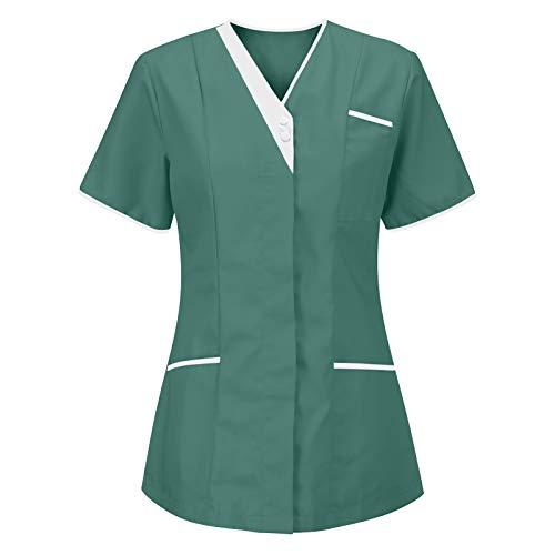 Disfraz de enfermera para mujer con cuello en V, de manga corta, para uniforme de enfermera, disfraz de doctor, mdico, casaca de enfermera, uniforme de enfermera, cosplay, camisetas. verde XXL
