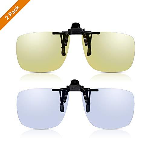 Clip-On Aufsatz 2er Pack: Read Optics gelb getönte High Definition Autofahrer-Brille + Blaulichtfilter Computer-Brille. Entspiegelte TAC polarisierte Gläser mit UV400 Schutz, reduzieren Augenbelastung