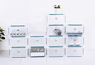 Senhill 12Pcs Shoes Storage Box Stackable Foldable Plastic Shoes Holder Cabinet Transparent DIY Shoes Organizer Case Clear Drawer (Manual Installation)