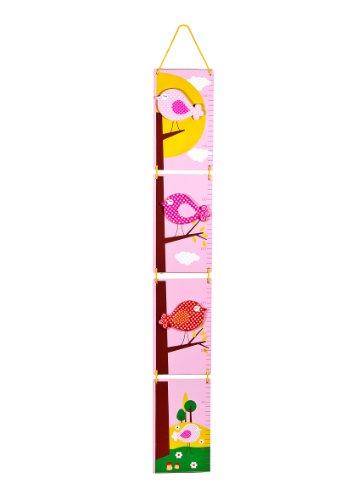 Mousehouse Gifts Kinder Messlatte aus Holz Rosa Vögel für Mädchen Kinderzimmer