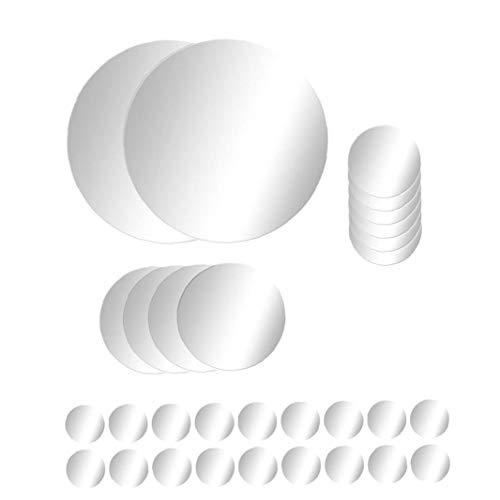 KHHGTYFYTFTY 1 Conjunto de Pared Creativo Ronda Diseño Espejo Efecto 3D de la Etiqueta desprendible de la Etiqueta engomada decoración del hogar de acrílico de Plata