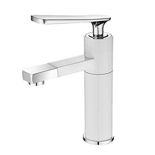 Y-longhair Grifos, Cobre Full Metal caliente y frío encima de Contador grifo del lavabo del baño de lavado grifo de 360 ° hacia arriba y hacia abajo Rotación agua caliente y fría Blanco Negro de alt