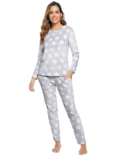 Aibrou Pijamas Mujer Invierno Mangas Larga de Franela Polar Conjunto de Pijama para Mujer Pantalones Largo Ropa de Casa 2 Piezas