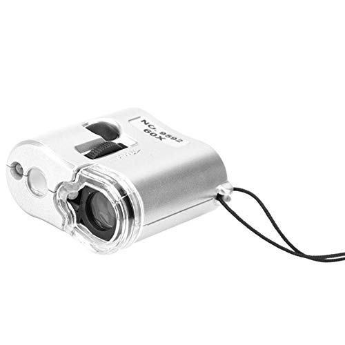 Wal front 60x Portable Microscope with Light Counterfeit Pocket Magnifying Glass LED Counterfeit Detector Magnifier