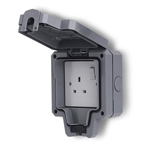 SweepID waterdichte weerbestendige enkel/tweegats 13A stopcontact voor buiten