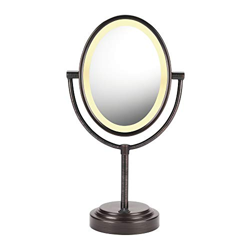 Conair Reflections Double-Sided Incandescent Lighted Vanity Makeup Mirror, 1x/7x magnification, Oiled Bronze finish