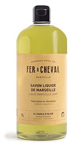 Fer à Cheval - Véritable Savon de Marseille Liquide à l'huile d'olive - Sans Conservateur, ce Savon Liquide Surgras et Hypoallergénique et Préserve l'équilibre de la Peau - 1 Litre