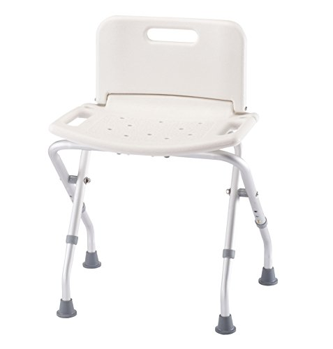 Folding Bath Seat with Back Support, Portable Shower Bench, White