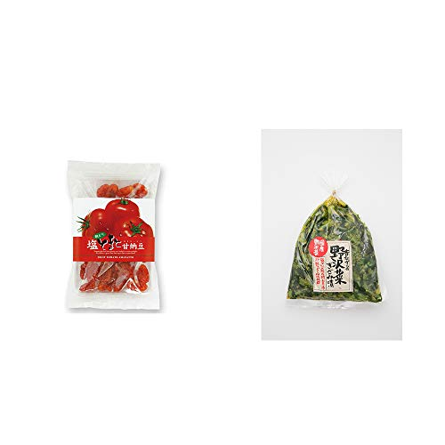 [2点セット] 朝どり 塩とまと甘納豆(150g)・国産 昔ながらの野沢菜きざみ漬け(150g)