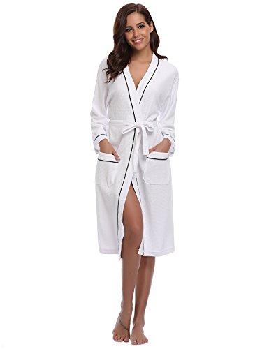 Aibrou Damen Baumwolle Sommer Bademantel Leicht Mantel Morgenmantel V Kragen Waffel Typ Saunamantel Frottee Weiß M