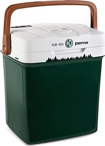 peme, 27 Liter Kühlbox, Kühlt und Wärmt, Thermo-Elektrische Kühlbox, 12 Volt und 230 Volt Mini-Kühlschrank, Auto und Camping, Grün