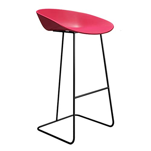 Küchenstuhl, Barhocker Modern mit Sitz aus PP und Metallgestell, Stuhl mit niedriger Rückenlehne, Frühstücksstuhl, Bistrohocker Thekenstuhl Rosa